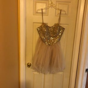 Tan Prom Dress with Crystals